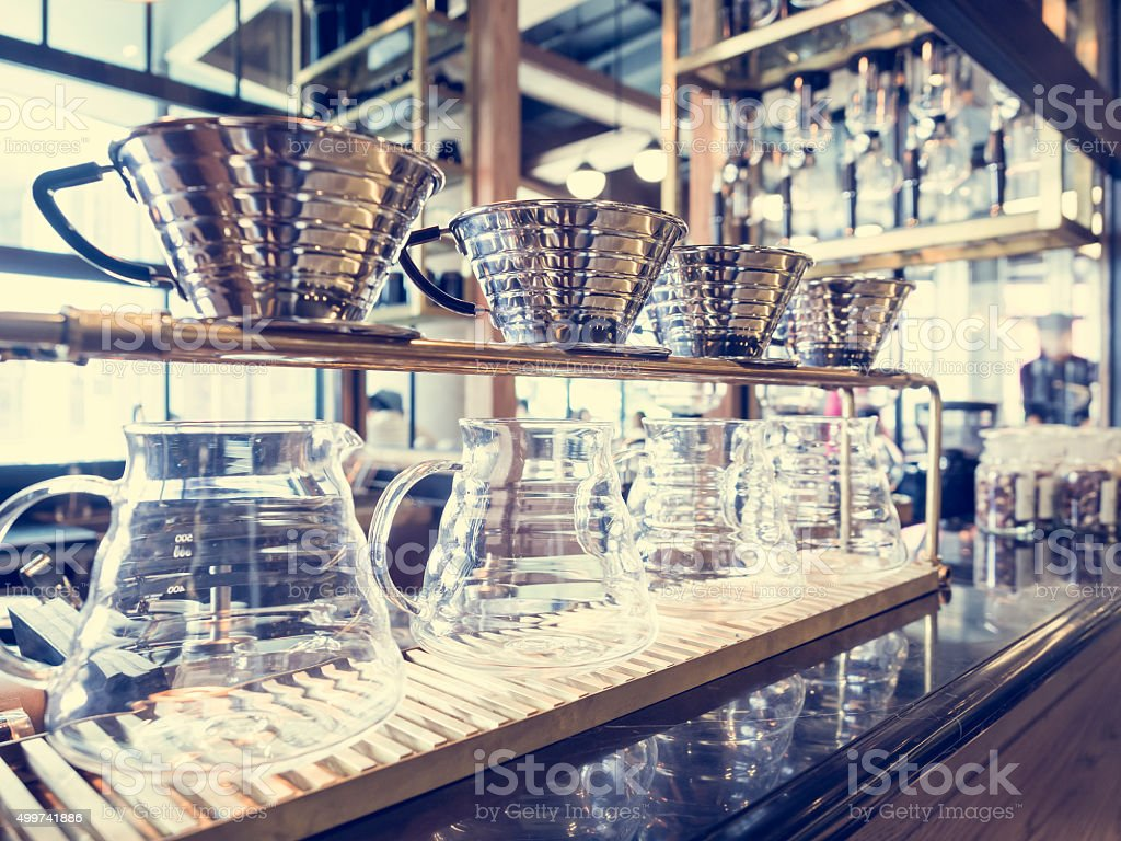 Drip Coffee Glass Kit Coffee shop Cafe display stock photo