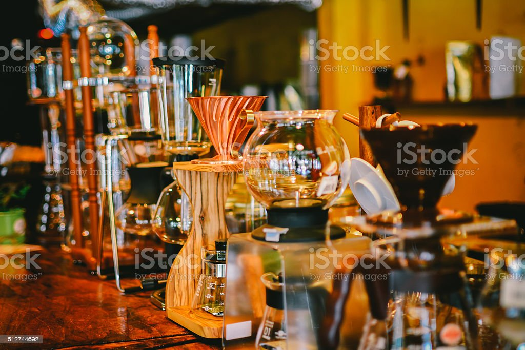 drip coffee maker at coffee cafe stock photo