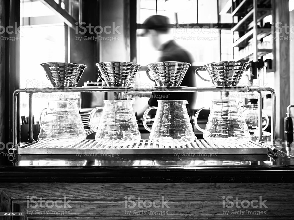 Drip coffee with blurred Barista background in Restaurant cafe stock photo