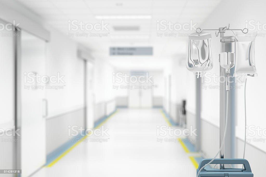 IV Drip In Hospital Hallway stock photo