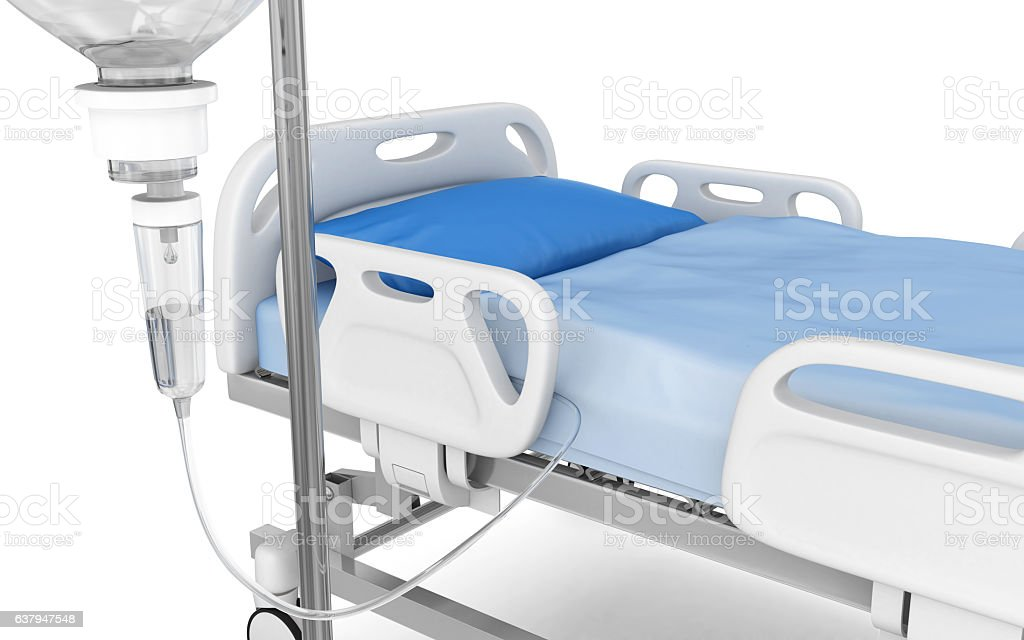 IV drip with hospital bed vector art illustration