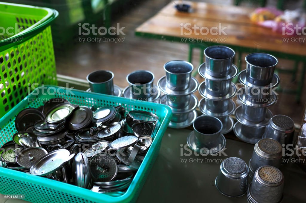 Dripper tools for making coffee vietnam Hot coffee at cafe in restaurant stock photo