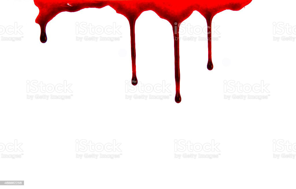 Dripping blood isolated on white stock photo