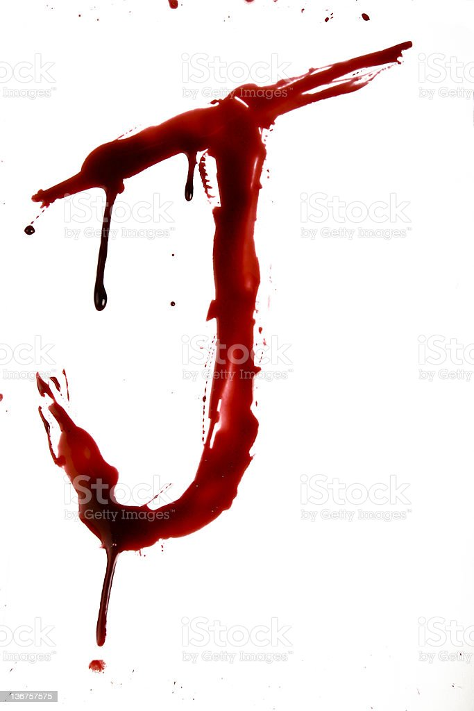 Dripping Bloody Alphabet J royalty-free stock photo