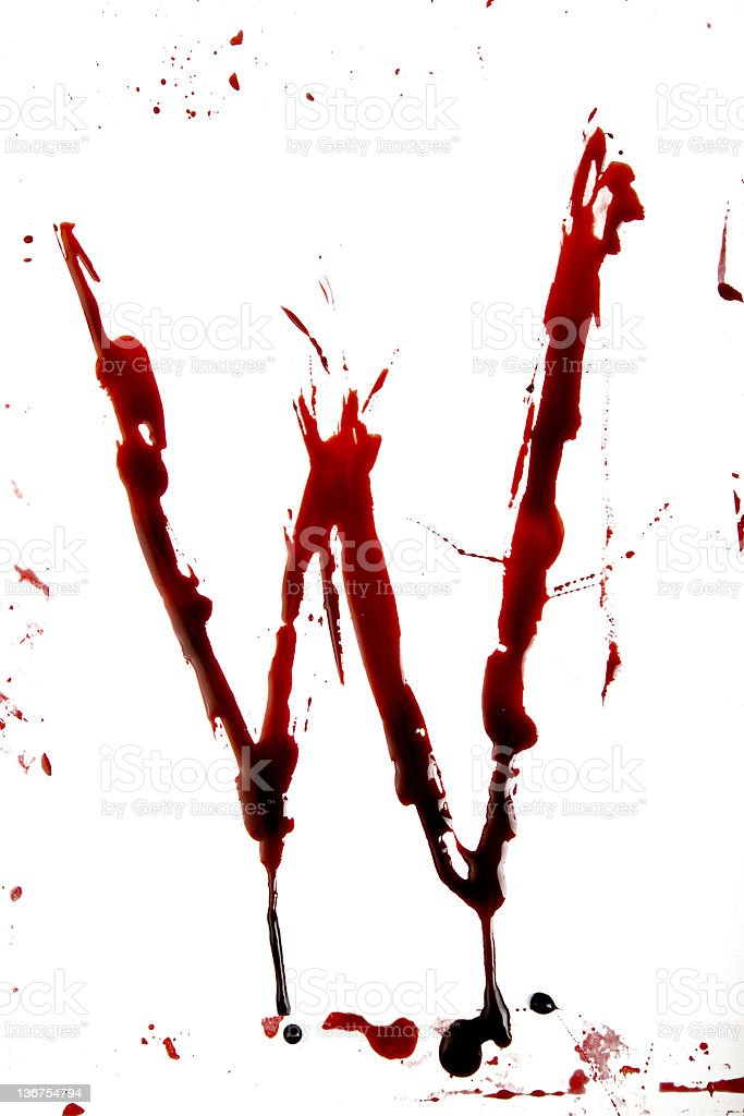 Dripping Bloody Alphabet W royalty-free stock photo