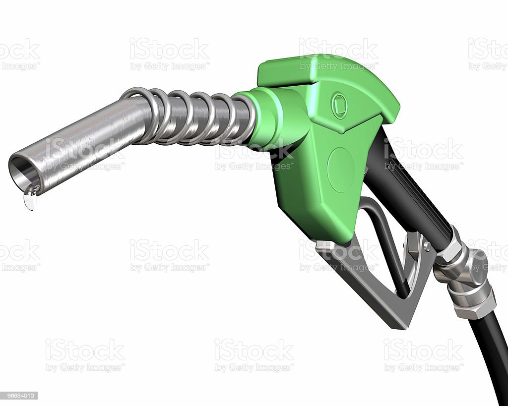 Dripping gas pump nozzle stock photo