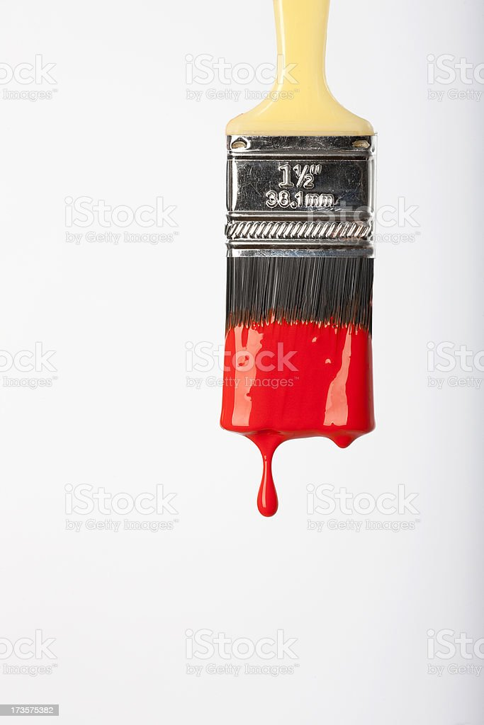 Dripping red paint stock photo
