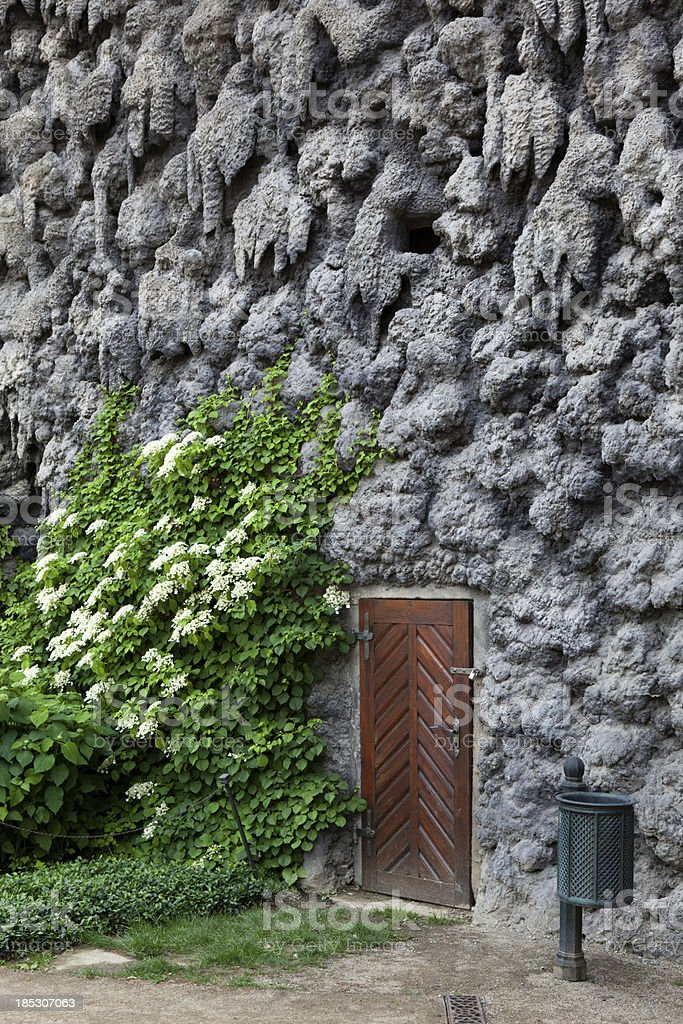 Dripstone wall in the Wallenstein Garden and Palace, Prague stock photo