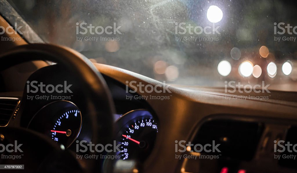 drive at night stock photo