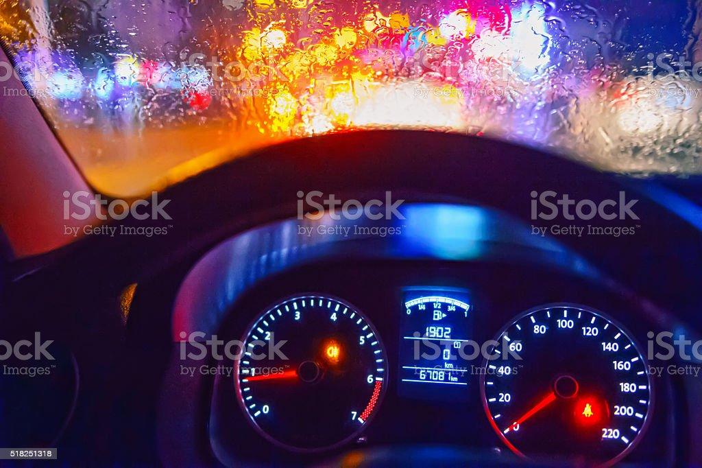 Drive car at night stock photo