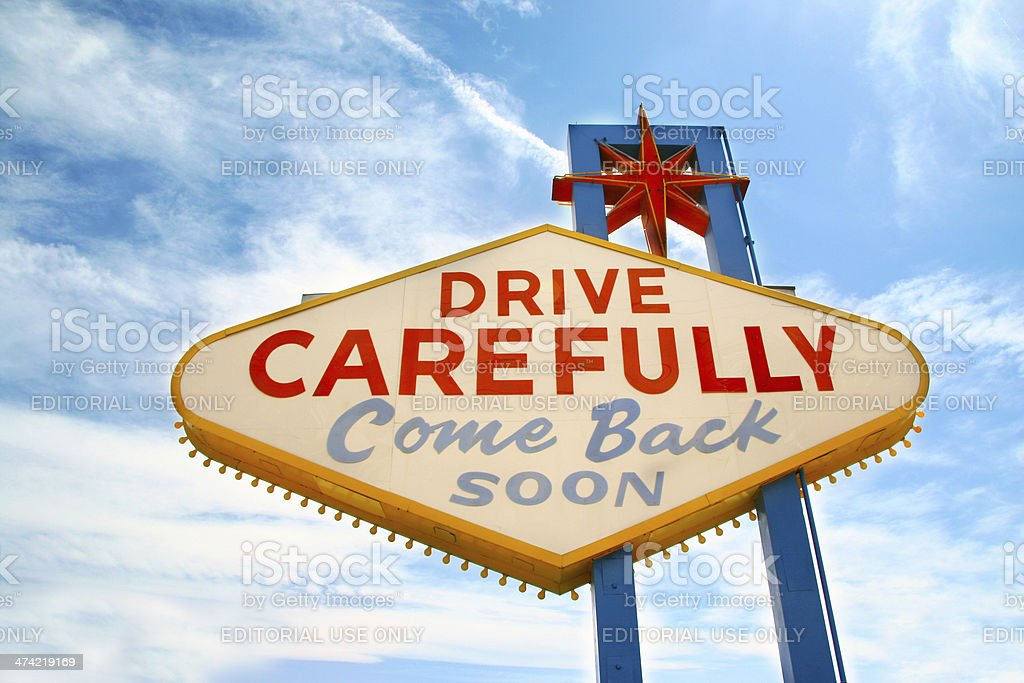 Drive carefully, come back soon: vehicle driving safety stock photo