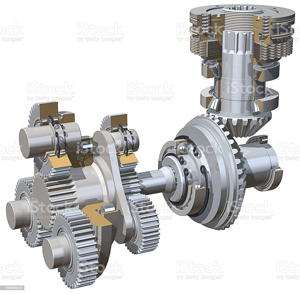Drive gears with white background royalty-free stock photo