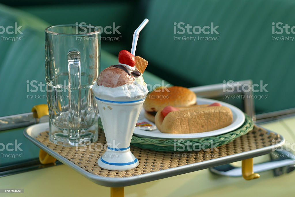 Drive In Restaurant Food On Car Window stock photo