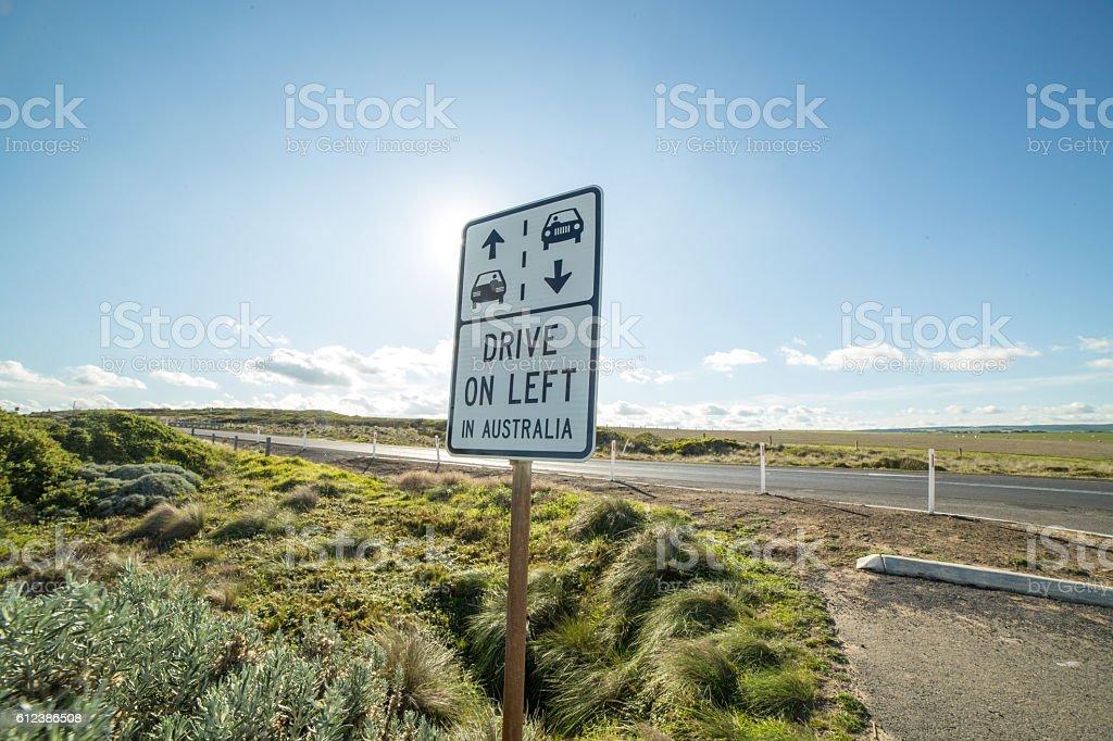 Drive on left Australia road sign stock photo