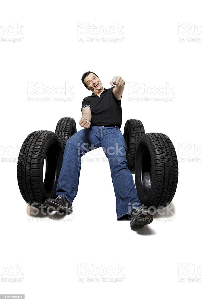 Drive safe with new tires royalty-free stock photo