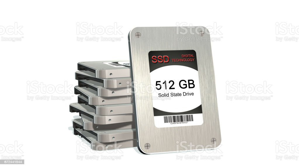 SSD drive - State solid drives isolated on white background stock photo
