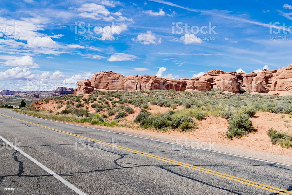 Drive Through in Arches National Park; Utah;USA stock photo