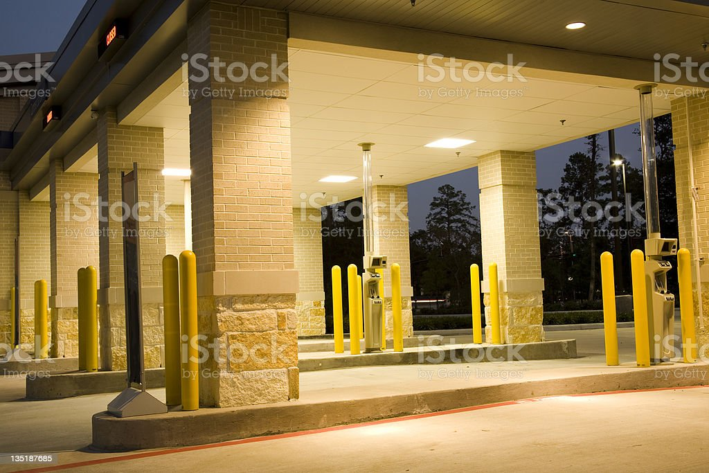 Drive thru banking. Bank, ATM at dusk, night. Empty. stock photo