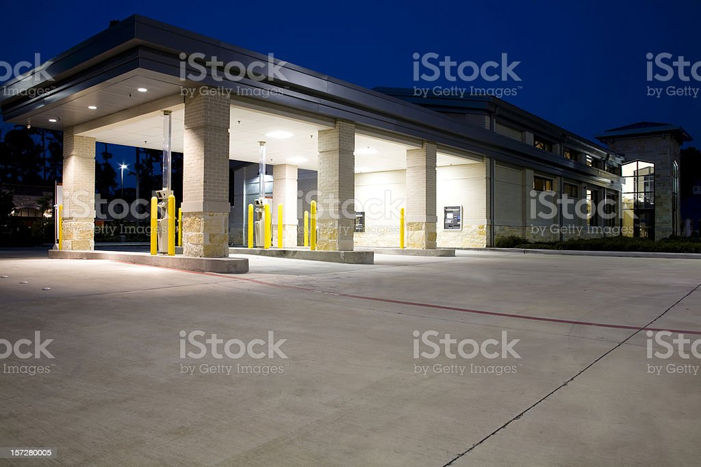 Drive thru banking. Bank, ATM. Night. stock photo