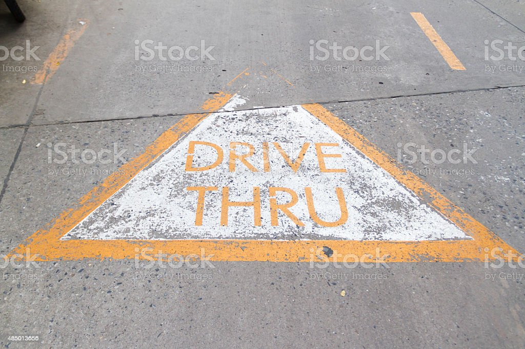 Drive Thru sign on the rode stock photo