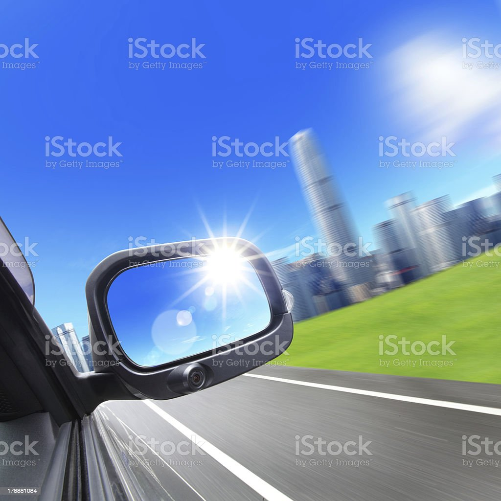 Drive to city royalty-free stock photo