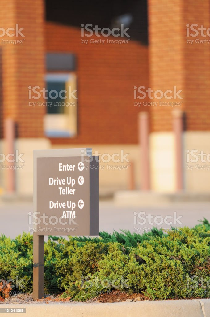 Drive up teller atm enter sign stock photo