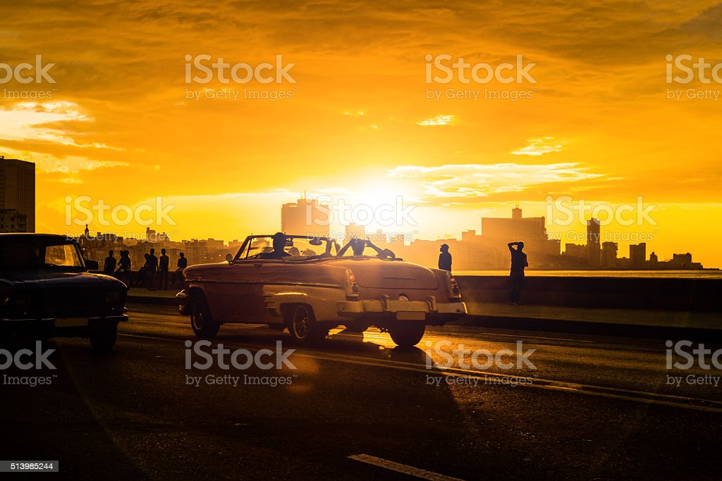 Drive with vintage American car at Malecon, Havana, Cuba stock photo