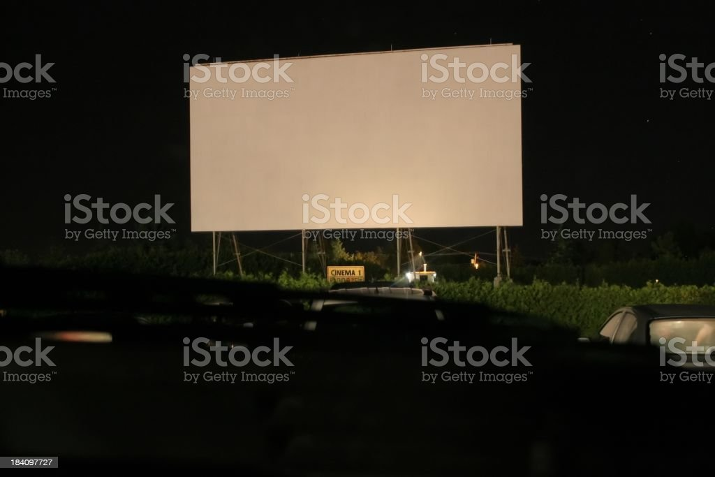 Drive-in at night stock photo