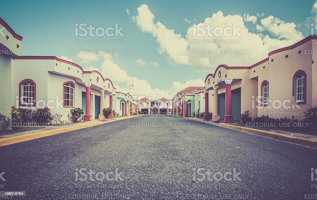Drive-in hotel in Dominican Republic stock photo