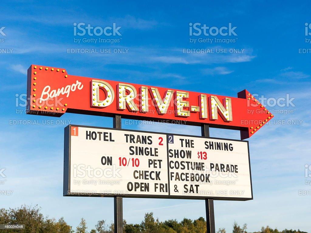 Drive-In Move Billboard Sign in Bangor Maine stock photo