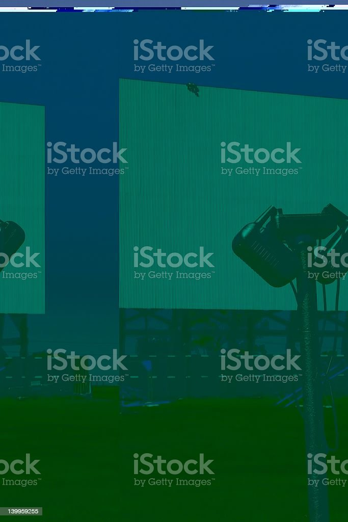 Drive-In Movie and Speakers royalty-free stock photo
