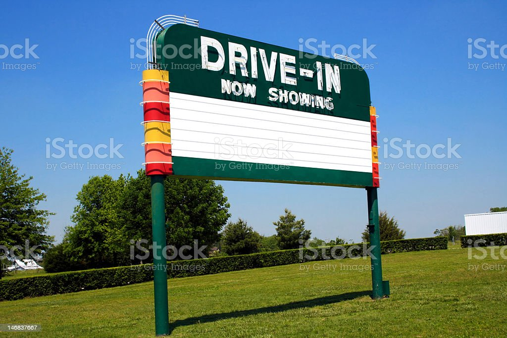Drive-In Movie Marquee Sign stock photo