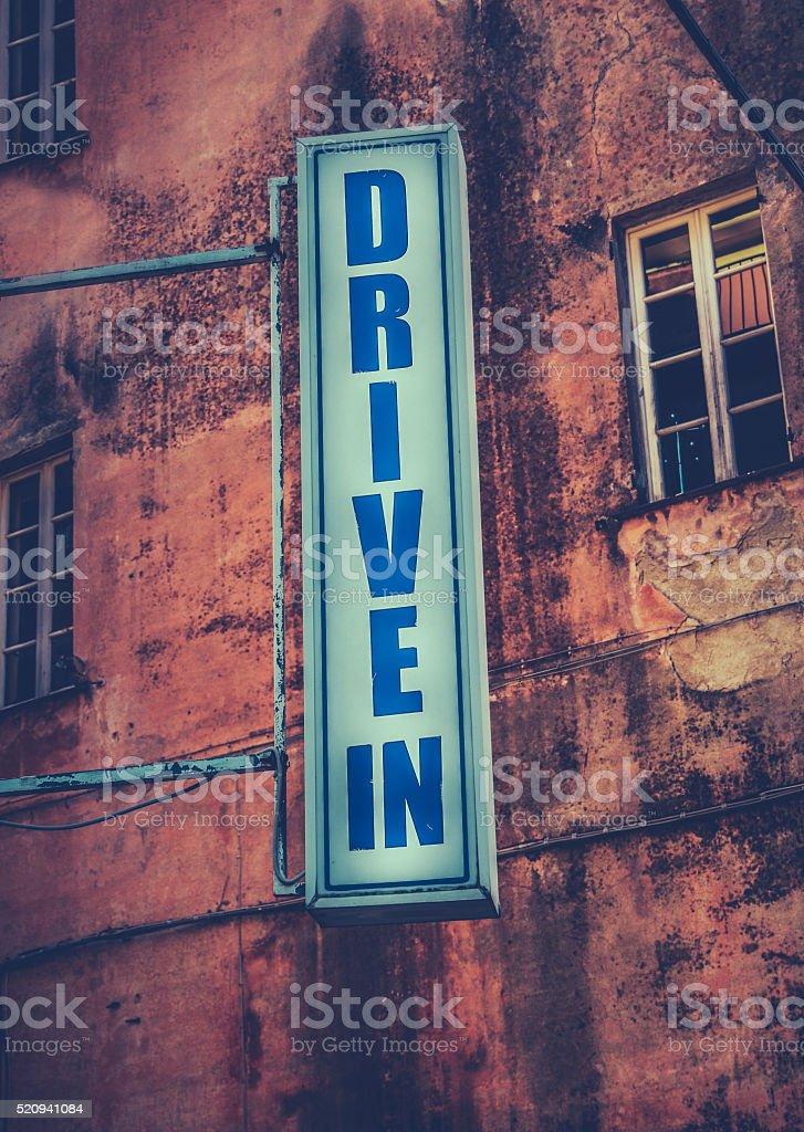Drive-In Movie Theatre Sign stock photo