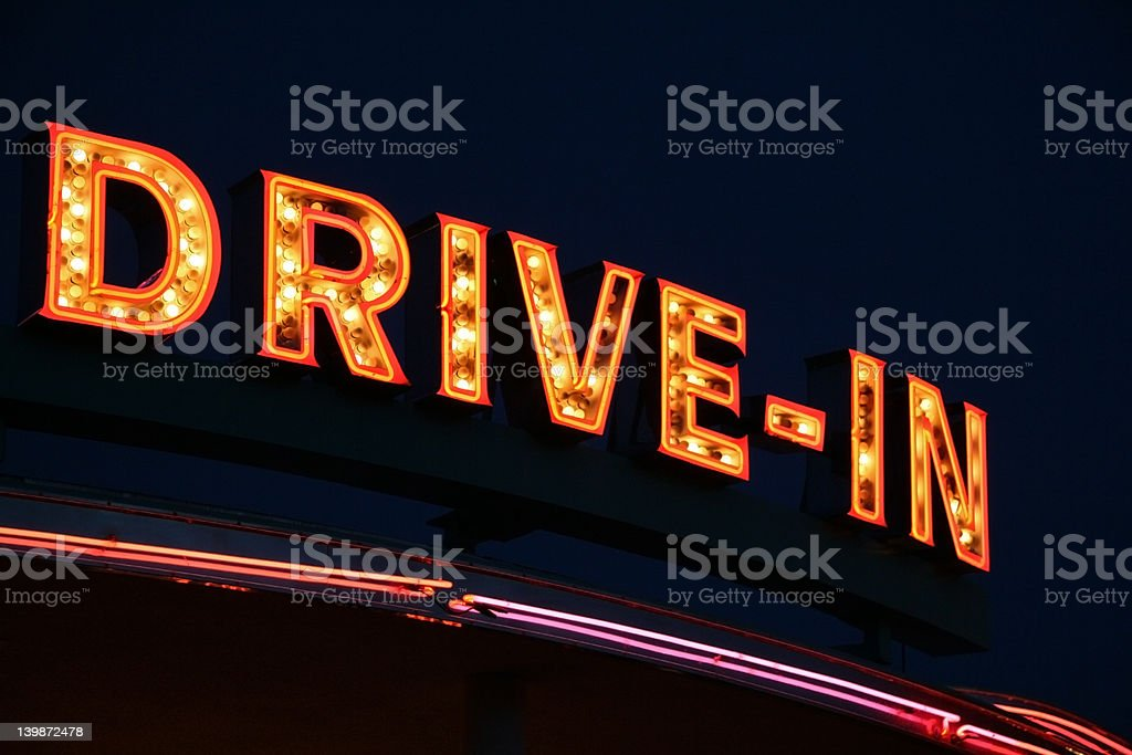 Drive-In Neon Sign stock photo