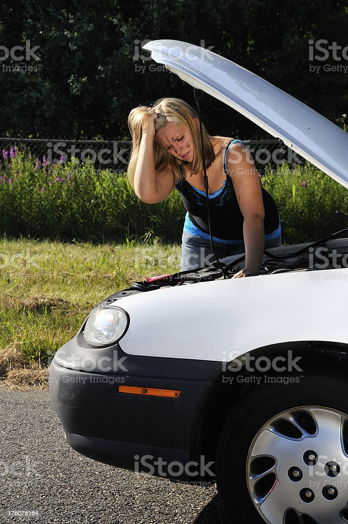 DIY Driver Frustrated Over Old Broken Car royalty-free stock photo
