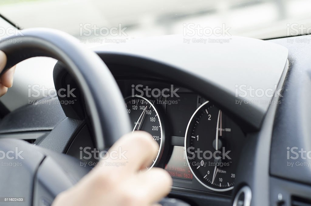 Driver going very fast through the town stock photo