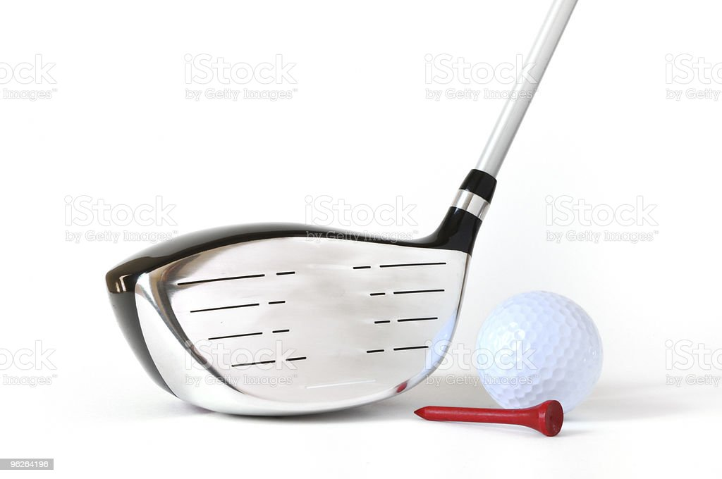 Driver, Golf Ball, and Red Tee royalty-free stock photo