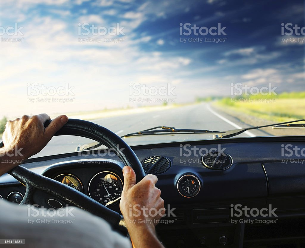 Driver in car stock photo
