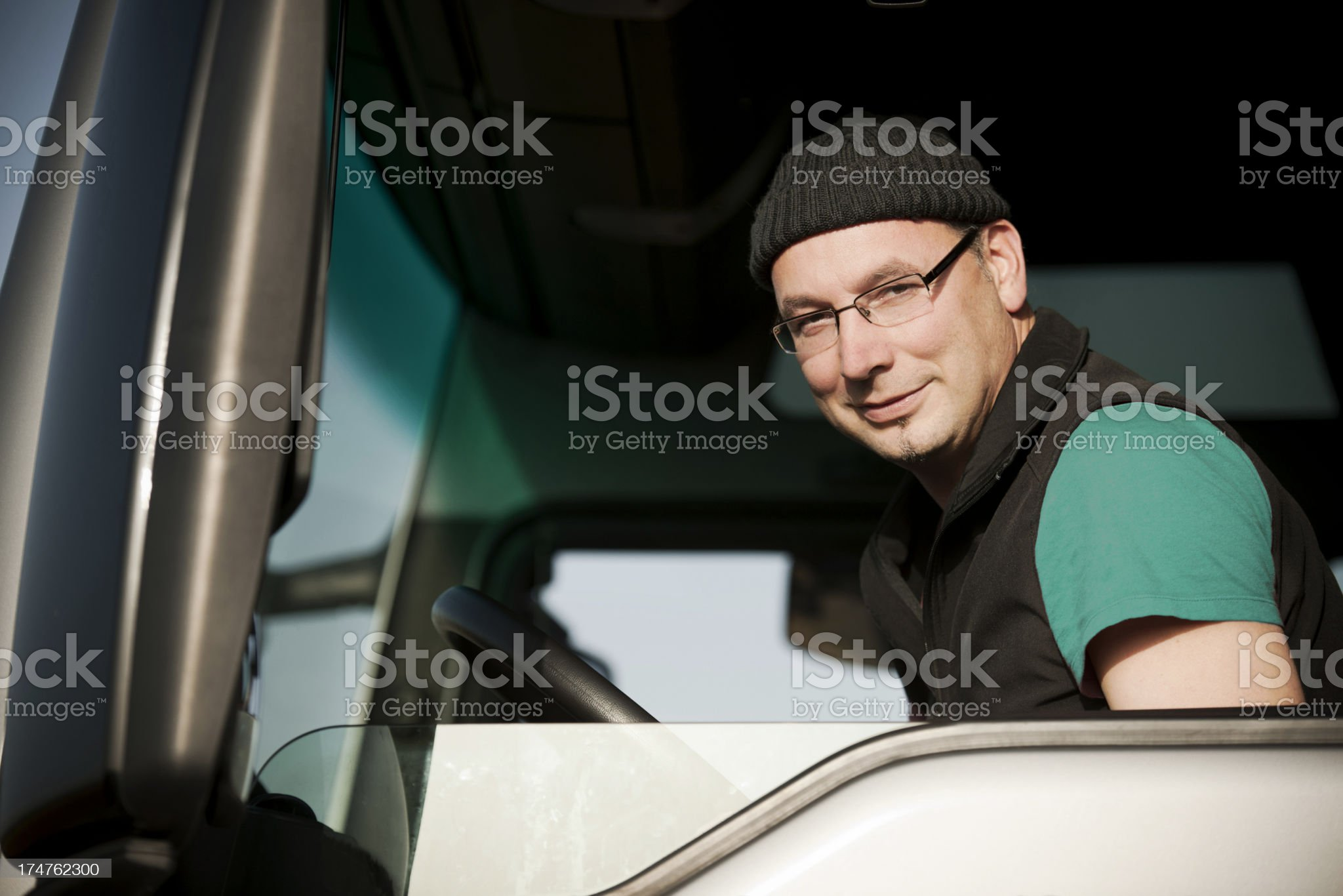 Driver in his truck royalty-free stock photo