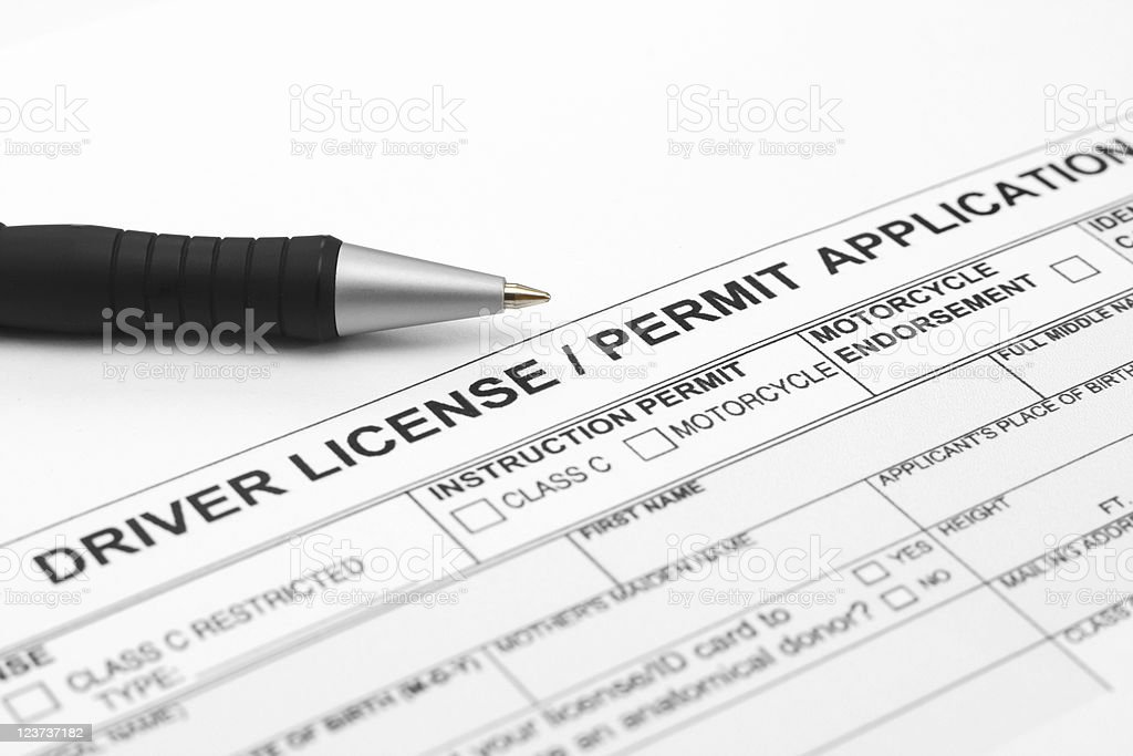 Driver licence application stock photo