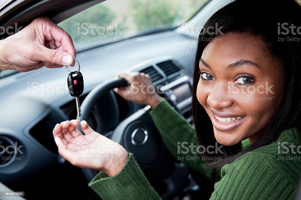 Driver takes the car key royalty-free stock photo