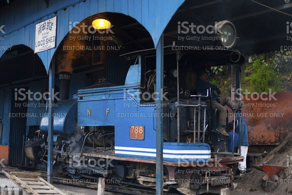 Driver Toy Train Parked Shed Angled Darjeeling royalty-free stock photo