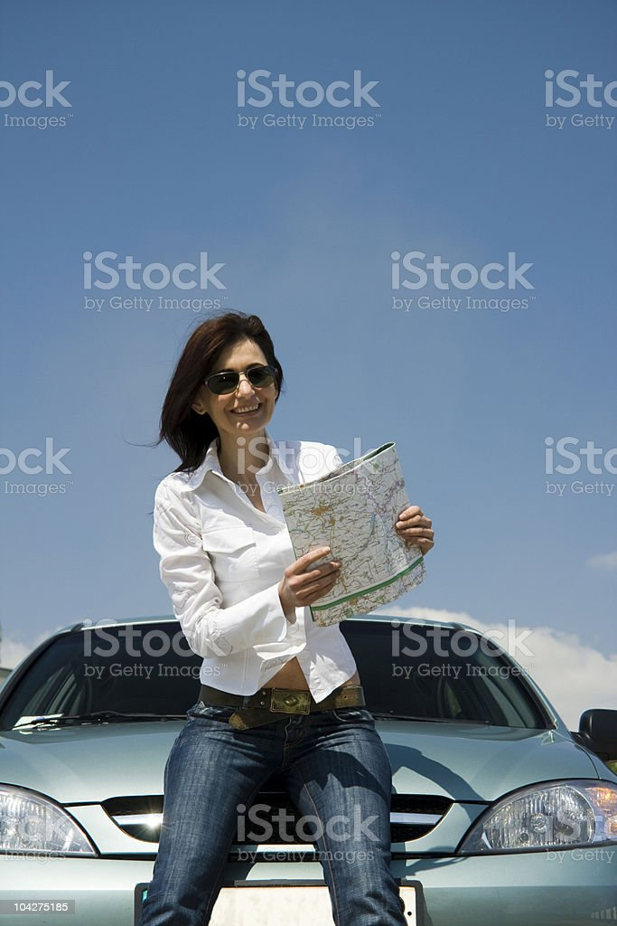 driver with a map stock photo