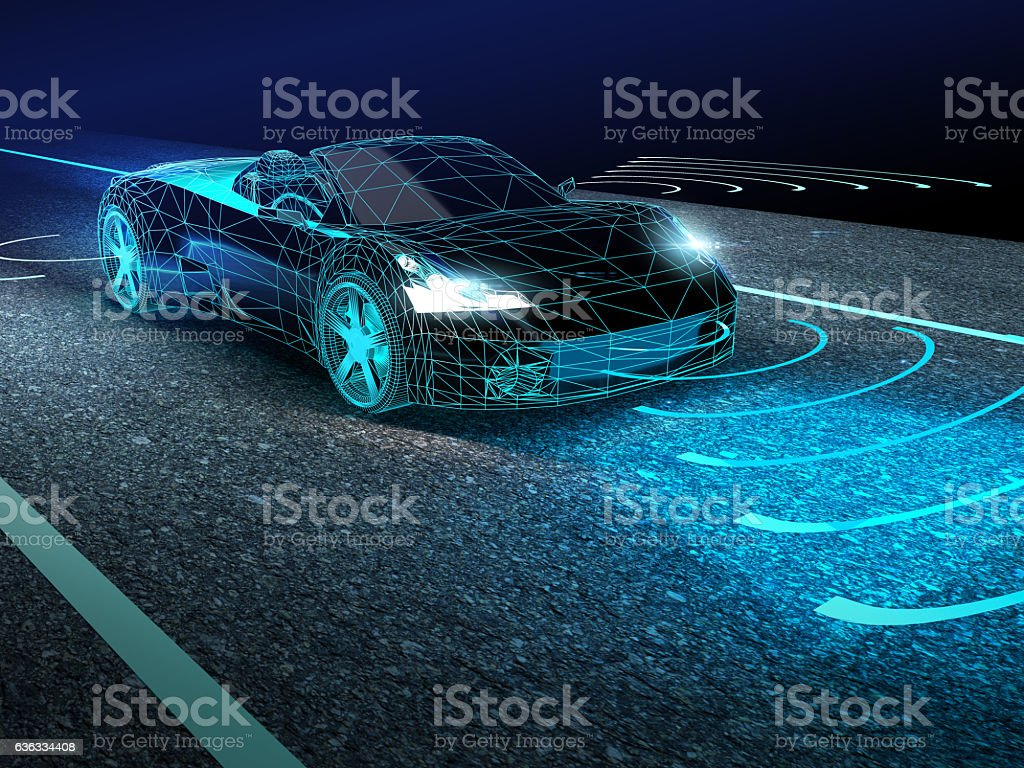 Driverless car stock photo