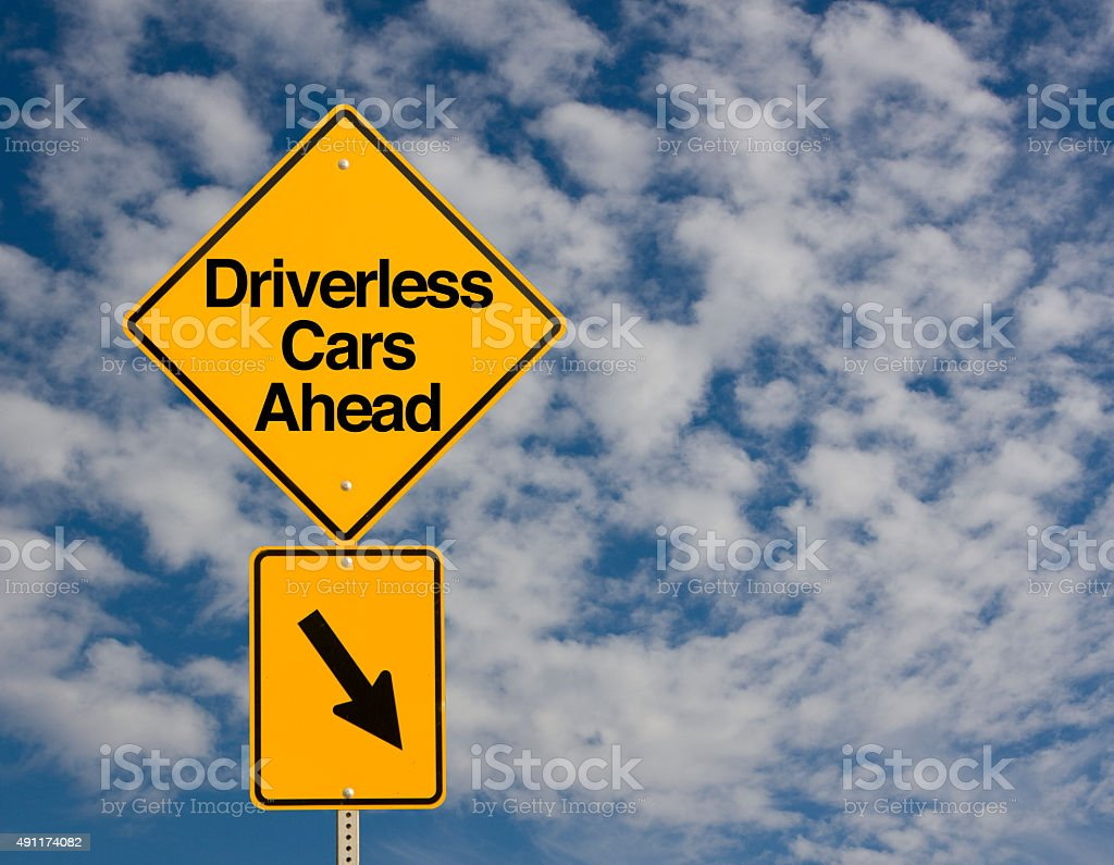 Driverless Cars Ahead stock photo