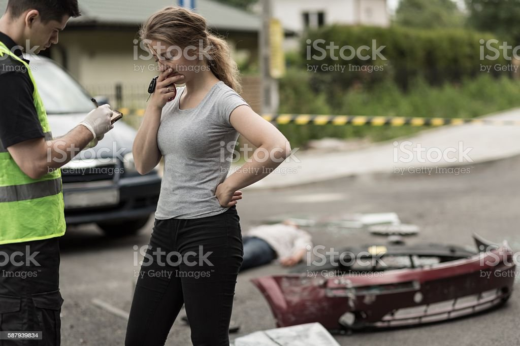 Driver's breakdown after accident stock photo