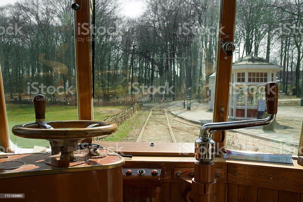Driver's cabin in old tram stock photo
