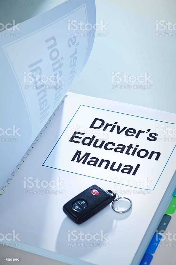 Driver's Education Manual Handbook Cover for drivers Training stock photo