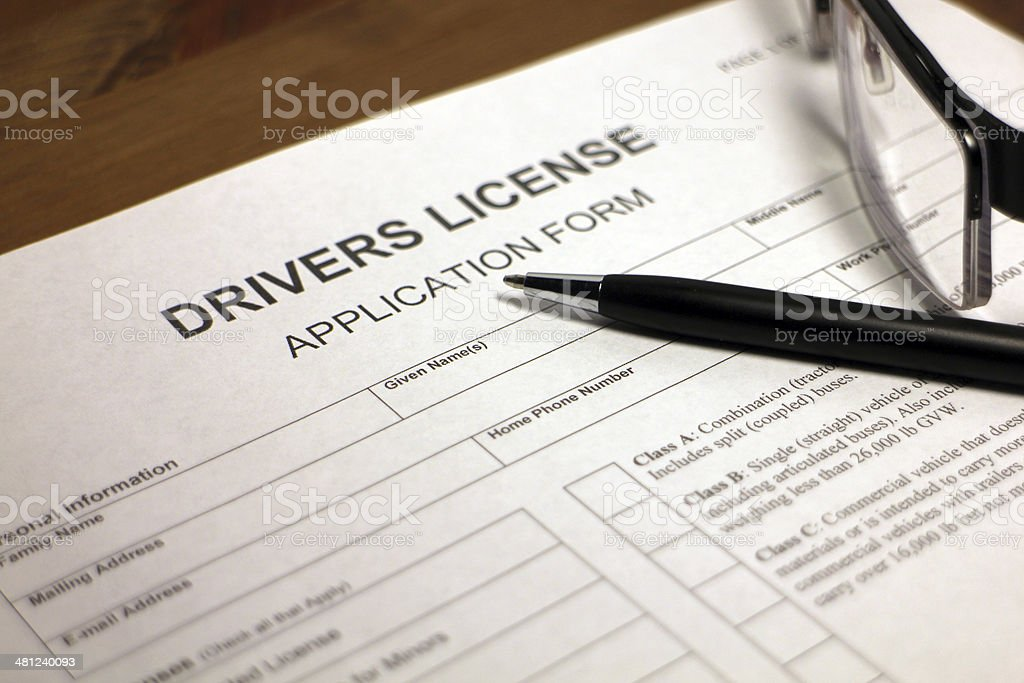 Drivers License Application stock photo