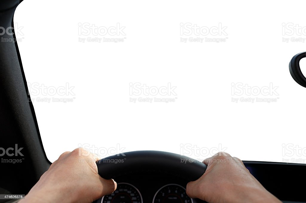 Driver's Perspective Hand Focus stock photo